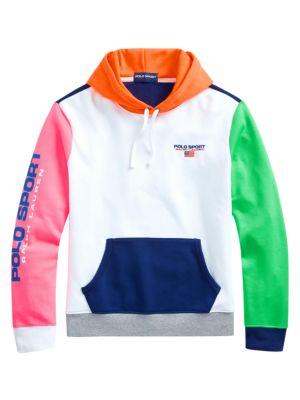 Neon Fleece Colorblock Drawstring Hoodie