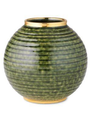 Calinda Round 10K Gold & Ceramic Vase