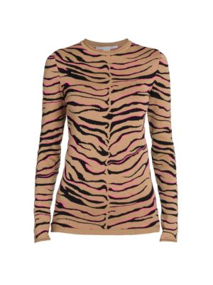 Compact Wool-Blend Tiger Knit Top