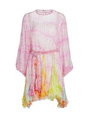 Ella Belted Crinkle Chiffon Dress