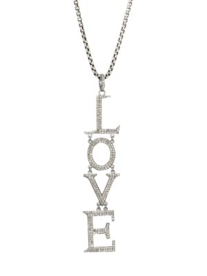 Black Rhodium-Plated & Diamond Love Pendant Necklace