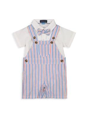 Baby Boy's 2-Piece Striped Overall Set
