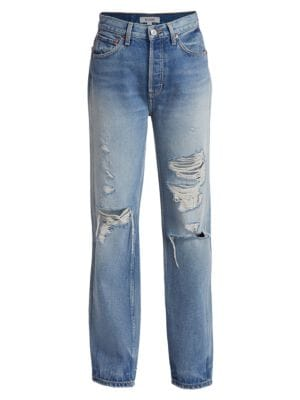 90s High-Rise Relaxed Distressed Straight-Leg Jeans