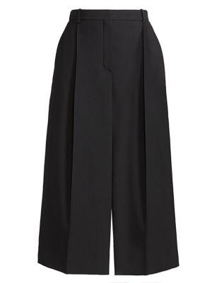 Wool & Silk Slit Midi Skirt