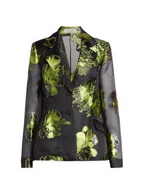 Metallic Floral Silk-Blend Blazer