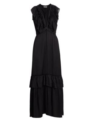 Macedonia Ruffle Front Maxi Dress
