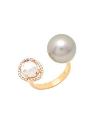 18K Rose Gold, 11MM Pearl, Topaz & Diamond Halo Open Ring