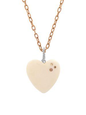 18K Yellow Gold, Bone & Diamond Enhancer Heart Pendant Necklace