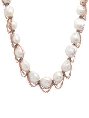 16MM Baroque Pearl & Two-Tone Chain-Wrapped Necklace