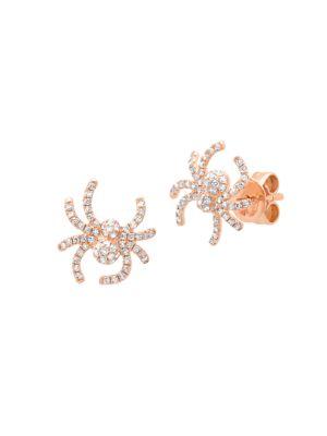 18K Rose Gold & Diamond Pavé Small Spider Stud Earrings