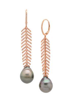 18K Rose Gold, Diamond & 13MM Tahitian Pearl Spine Drop Huggie Hoop Earrings