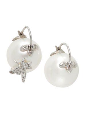 18K White Gold, Diamond Stud & 13-14MM Pearl Triple Leaf Fly Drop Earrings