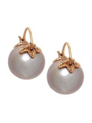 18K Rose Gold & 13MM Pink Pearl Drop Earrings