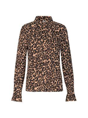 Macy Leopard Button-Down Blouse