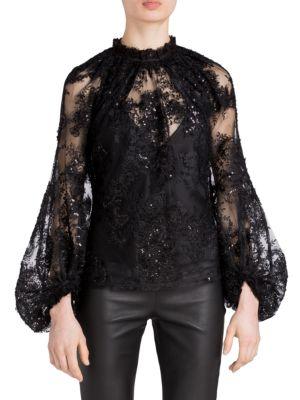 Lolita Lace Blouson-Sleeve Top