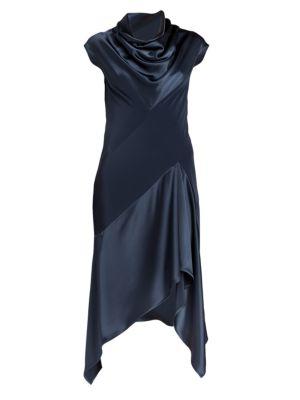 Cybil Satin & Crepe Bias Dress
