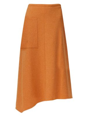 Speckled Knit Wrap Midi Skirt