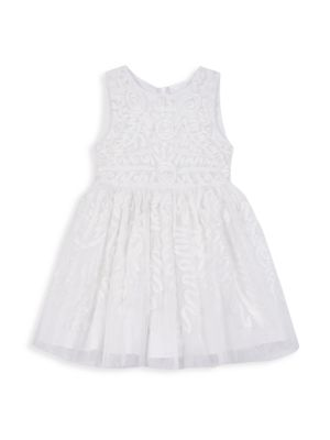 Baby's, Little Girl's & Girl's Floral Jacquard A-Line Dress