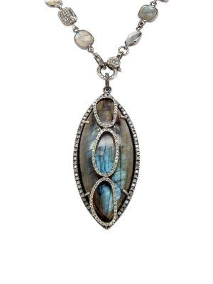Black Rhodium Silver, Labradorite & Diamond Pendant Necklace