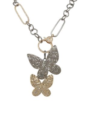 Black Rhodium-Plated, 14K Yellow Gold & Diamond Double Butterfly Pendant Necklace