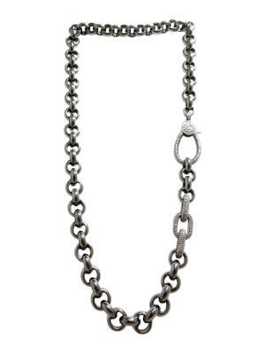 Black Rhodium-Plated & Diamond Link Necklace
