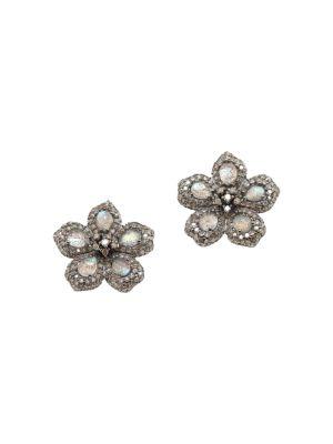 Black Rhodium-Plated, Labradorite & Diamond Flower Cluster Stud Earrings