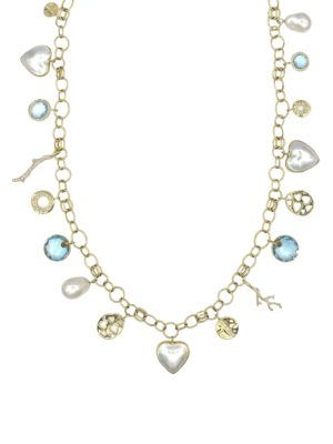 Rock Candy® 18K Yellow Gold, 14-20MM Pearl & Multi-Stone Charm Necklace