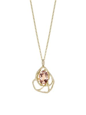 Rock Candy® 18K Yellow Gold, Morganite & Diamond Drizzle Pendant Necklace
