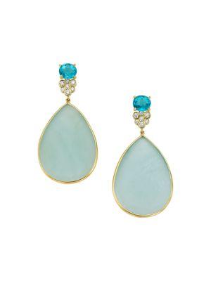 Rock Candy® 18K Yellow Gold, Aqua, Apatite & Diamond Drop Earrings