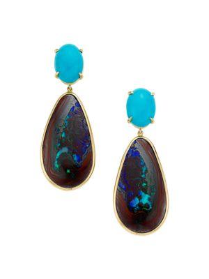 Rock Candy® 18K Yellow Gold, Opal & Turquoise Drop Earrings