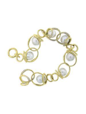 Nova 18K Yellow Gold, 10-11MM Baroque Pearl & Diamond Chain-Link Bracelet