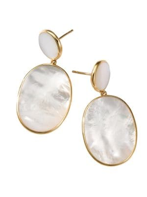 Polished Rock Candy 18K Yellow Gold & Mother-Of-Pearl Double-Drop Earrings