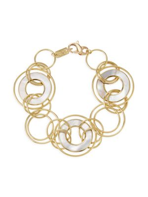 Polished Rock Candy 18K Yellow Gold & Mother-Of-Pearl Slices and Links Bracelet