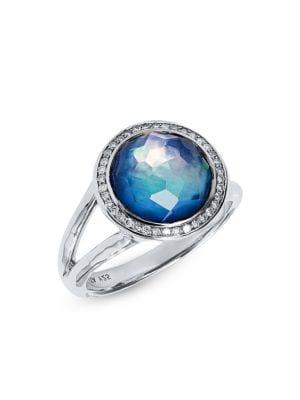 Lollipop® Mini Sterling Silver, Lapis Triplet & Diamond Ring