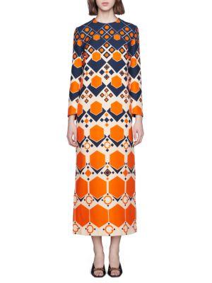 GG Hexagon Print Wool Silk Long Dress