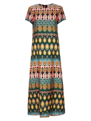 Swing Print Silk Maxi Dress