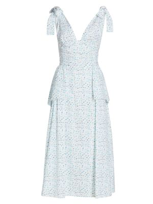 Rough Around The Edges Tie-Strap Peplum Midi Dress