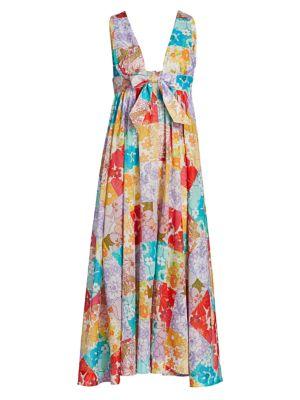 Patchwork Floral A-Line Midi Dress