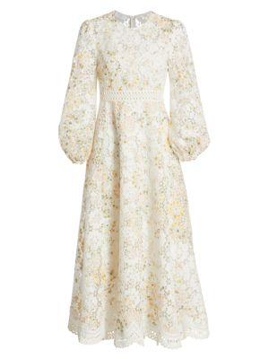Amelie Floral Linen-Blend Lace Eyelet Puff-Sleeve Dress