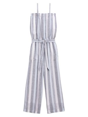 Sea Stripe Linen-Blend Jumpsuit