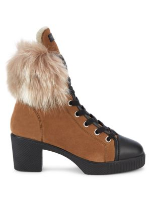 Shearling-Trimmed Suede Combat Boots