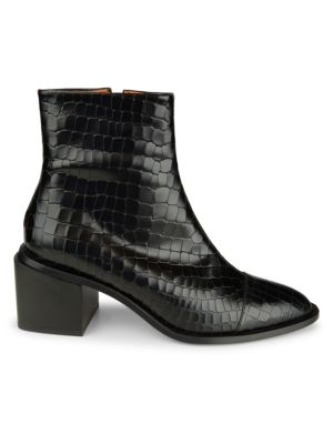 Xiana Croc-Embossed Leather Ankle Boots