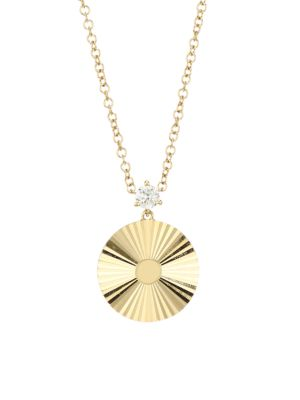 14K Yellow Gold & Diamond Fluted Disc Pendant Necklace