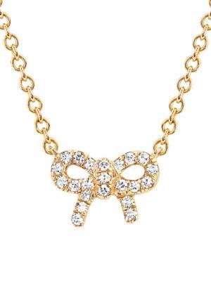 14K Yellow Gold & Diamond Mini Bow Necklace