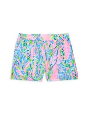 Girl's Floral-Print Shorts