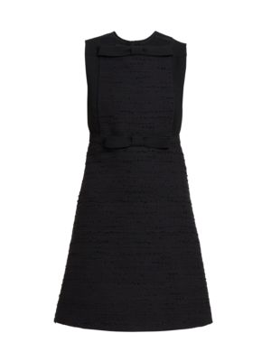 Bow Front Sleeveless Tweed Dress