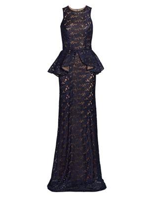 Marina Sleeveless Peplum Gown
