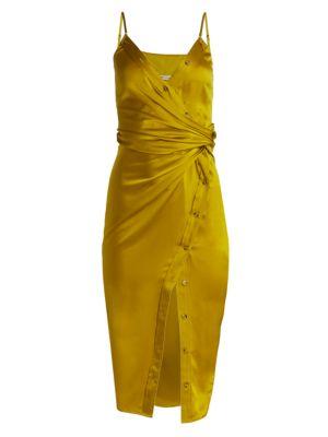 Cami Satin Faux Wrap Dress