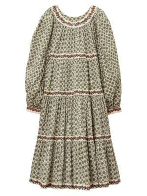 Medallion Print Puff-Sleeve Dress