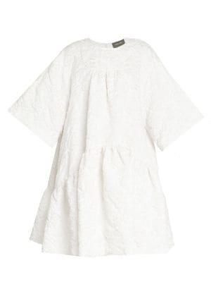 Short Gathered Cloque Dress